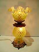 Fenton Old Yellow-vaseline Glass Opalescent Hobnail Lamp