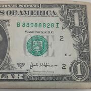 Six Of A Kind 8 Trinary Fancy Serial Number 1 Dollar Bill Note 2003a Rare Ju2