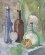 Vintage Expressionist Oil Painting Still Life With Bottles Apple And Goblet