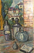Vintage Expressionist Oil Painting Still Life With Bottles And Book Signed