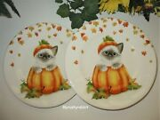 Cat In Pumpkin Salad Plate - Fall Harvest Kitty - Set Of 2 - Pier 1 Imports