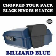 Billiard Blue Chopped Tour Pack Black Hinges Latch For 97-20 Harley Touring