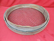 Old Farm Primitive Antique 18 Grain Sieve Early Bentwood Wire Screen Sifter