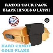 Hard Candy Gold Flake Razor Tour Pack Black Hinges Latch For 97-20 Harley