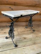 Antique Vintage Gothic Style Metal Cast Marble Top Bench Table By Jgb Co 1955's