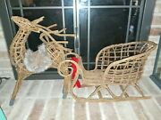 Rare Large Wicker Reindeer And Sleigh Christmas Holiday Decoration Centerpiece