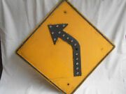 Left Curve Ahead--yellow Road/street Sign-with 15-cat-eye Reflectors-