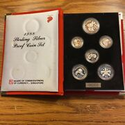 1988 Singapore Sterling Silver 6-coin Proof Set With Box And Coa