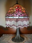 Art Deco Style 19 Table Lamp Pink Leaded Glass Shade W/ Glass Beaded Fringe