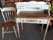 Vintage Ethan Allen Hitchcock Ivory Ladies Writing Desk With Thumb Back Chair