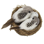 White Fake Feather Birds Model Birds Figurines Cages Tree Bonsai Ornament