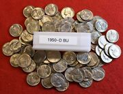 1950-d Jefferson Nickel 1/2 Roll 20 Coins Bu Gem Coins From Pictured Group
