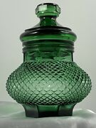 Rare Green Mid-century Indiana Glass Diamond Point Cannister W/ Lid Beautiful