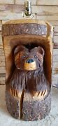 Chainsaw Carved Bear Cabin Parlor Table Desk Light Lamp