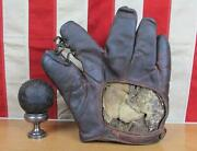 Vintage 1920s Rawlings Leather Baseball Glove And Antique Town Ball Baseball Rare