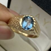 Designer 14k Solid Yellow Gold Blue Topaz Menand039s Ring Size 9 3/4-10 7.44grams