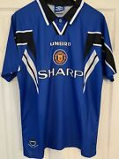 Manchester United Third 3rd Football Shirt 1996/1997 Menand039s Large