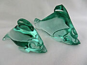 Pair Of Green Crystal Fish Figurines
