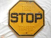 Vintage Yellow Stop-thru Traffic Road/street Sign With Cat Eye Reflectors