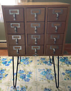 Vintage Worden Library Card Catalog 12 Drawer Maple