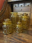 Vtg Le Smith Moon And Stars 8 Piece Amber Glass 4 Canister Set Beautiful