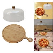 Round Wood Pizza Peel Cake Fruit Serving Tray Cutting Board Cooking Utensils