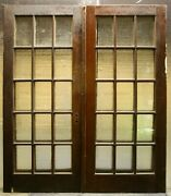 65x80 Pair Antique Vintage Old French Double Interior Doors Window Glass Panes