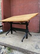 1940s Hamilton Drafting Table Cast Iron Industrial Office Desk Kitchen Art Easel