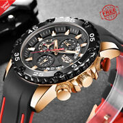 Watches Mens Lige Top Brand Waterproof Male Silicone Strap Sport Quartz Big Dial