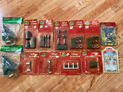 Lot Of Christmas Village Accessories Street Lights Lamps Sign Mailbox Pine Trees
