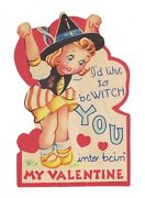 Rare Adorable Vintage Halloween Witch Bewitch You Valentine Card Unused 1930s