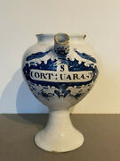 Superb 18th Century Dutch Delft Blue And White Wet Drug Pharmacy Jar Apothecary