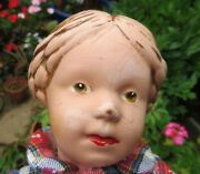 Antique Schoenhut Wooden Toy Doll Carved Hair Blue Bow Rarely Available