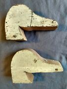 2 Vintage Canvasback Mallard Wood Duck Decoy Heads Carving Craft Unfinished Lot