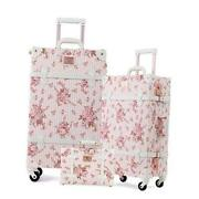 3 Piece Vintage Luggage Set Suitcase With Tsa Lock For Women26in Floral Pink