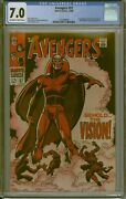 Cgc 7.0 Avengers 57 1st Appearance Of The Vision Ow/w Pages 1968