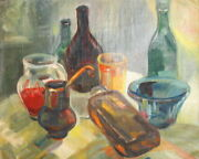 Expressionism Still Life Bottles Cups Bowl Vintage Oil Painting