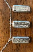 3 Phoenix Precious Metals 1 Troy Ounce Old Pour Silver Bars Pendants Jump Ring