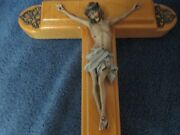 Vintage Sick Call Last Rites 16 Crucifix Wood, Candles, Glass Holy Water Bottle