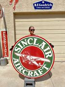 Large 48andrdquo Sinclair Aircraft Porcelain Service Double Sided Sign