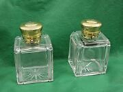 Mechanical Sterling Silver And Cut Crystal Perfume Bottles Antique English London