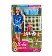 Barbie You Can Be Anything Soccer Coach 2 Doll Set + Accessories - Blonde New