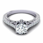 950 Platinum Womenand039s Engagement Real Diamond Ring Round Cut 0.78 Ct Size 6 7 8.5