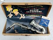 1952 Emenee Industries Fifth Ave- The Silver Saxophone Toy Sax In Case Works