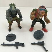 Bebop And Rocksteady Tmnt Original 1988 Action Figure W/ Accessories Weapons