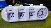 Cool Vintage And Retro Looking Flip Style Calendar With Clock On Side Pill Shape