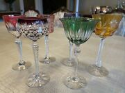 Vintage Lead Etched Crystal Goblets, 6, Beautiful