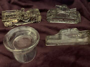 Vintage Glass Candy Holders-military Theme Lot Of 4 Jeep, Hat, Boat, Tank