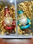 New Pottery Barn Mercury Glass Santa And Gnome Christmas Ornament Set 2 Sold Out