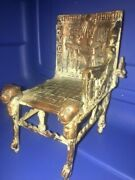 As Is Antique Tut Egyptian Revival Brass Chair 1920s And Vintage Carved Wood